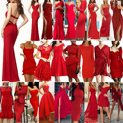 AU23.39 • Buy Women Formal Red Ball Prom Party Dress Evening Cocktail Bridesmaid Wedding Gown