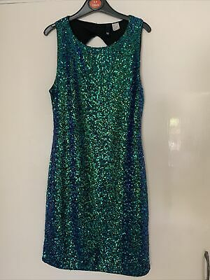 £7.99 • Buy Ladies Two-tone Green-Blue Sparkly Sequinned Dress Divided By H&M EUR 38 Uk 12