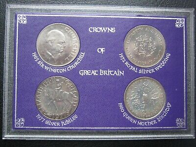 £7.99 • Buy UK British 1965 1972 1977 & 1980 Cu-Ni 5x Crown Coin Collection Set - Cased