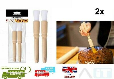 £2.79 • Buy 2 X WOODEN PASTRY BRUSH BAKING BASTING,DUST,GLAZING COOKING BRISTLE