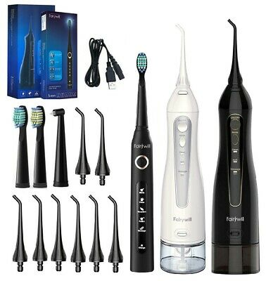 View Details Fairywill Water Flosser Oral Irrigator Teeth Cleaner & 5 Modes Sonic Toothbrush  • 41.39$