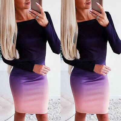 AU19.56 • Buy Womens Gradient Round Neck Long Sleeve Pencil Dress Causal Party Bodycon Dresses