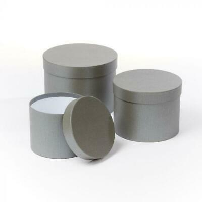 £11.50 • Buy Set Of 3 - Oasis Round Grey Hat Box Boxes - Storage Florist Home Gift Decoration