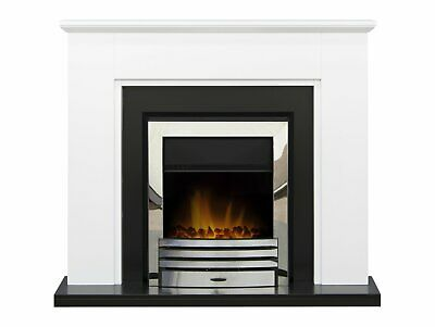 £249 • Buy Adam Greenwich Fireplace Suite Pure White & Black + Eclipse Electric Fire Chrome