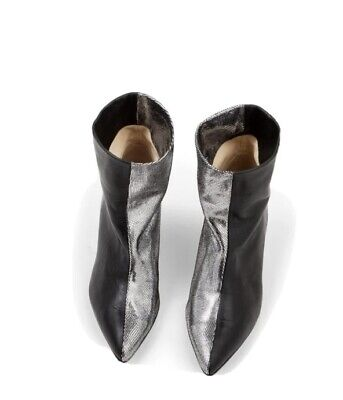 £125 • Buy Ivylee Copenhagen Chloe Slouchy Silver And Black Leather Ankle Boots 39 BNIB