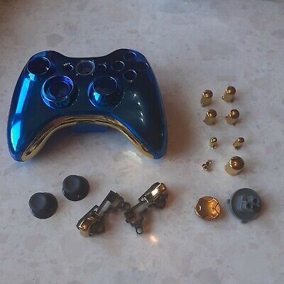 £10 • Buy Xbox 360 Wireless Controller Full Custom Case Shell Cover Buttons Met Blue+Gold