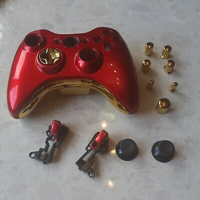 £10 • Buy Xbox 360 Wireless Controller Full Custom Case Shell Cover Buttons Met Red + Gold