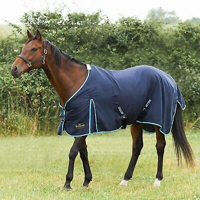 £22.50 • Buy Gallop Summer Sheet/Rug Cotton Mix Navy With Baby Blue&White Binding 4'9 -7'0