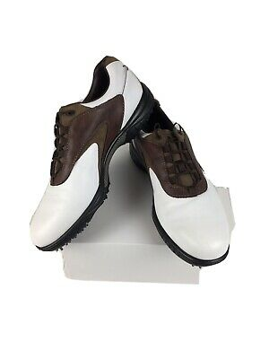 $39 • Buy FOOTJOY Contour Series 54239 Men's 12 N Golf Shoes Softspikes White Brown Mint