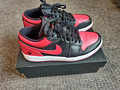 £70 • Buy Custom Jordan 1 Low Red And Black Banned Colourway Size Uk7.5 Very Unique