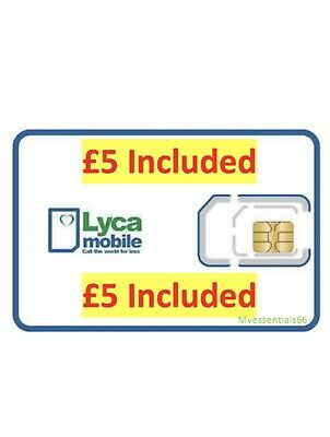 £3.25 • Buy Lyca Mobile Pay As You Go Sim Card 3 In 1 WITH £ 5.00 Credit Pre-Loaded OFFICIAL