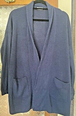 £95 • Buy N Peal Cashmere Chunky Navy Blue Knit Cardigan Jumper ONE SIZE | RRP £495