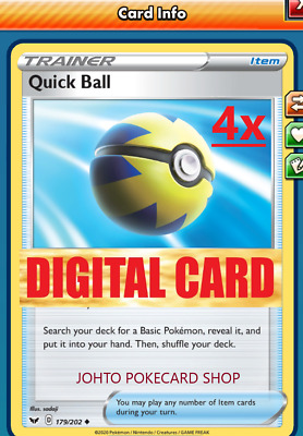 $1 • Buy 4x Quick Ball Sword & Shield DIGITAL Pokemon TCG Online Code FAST DELIVERY