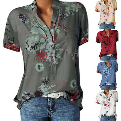 £7.89 • Buy Womens Short Sleeve Summer Blouse Shirt Plus Size Ladies Floral Print Casual Top
