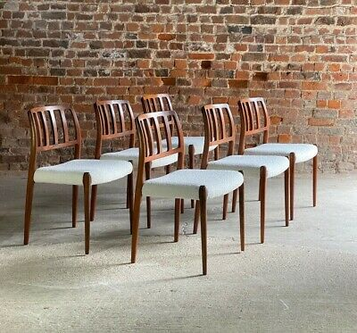 £5995 • Buy Moller Model 83 Rosewood Dining Chairs Set Of Six In Bouclé Denmark 1970