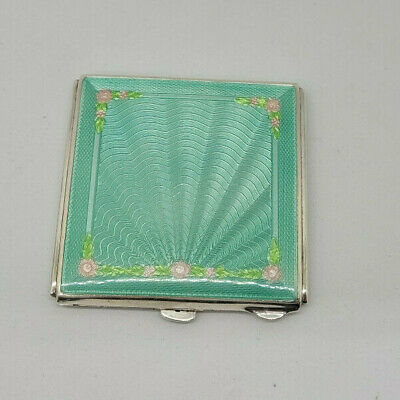 £329 • Buy Rare Antique Solid Silver Green&flower Guilloche Enamel Powder Compact