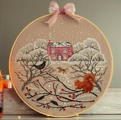 £180 • Buy Large Completed Finished Snow Place Like Home Cross Stitch Handmade In Hoop