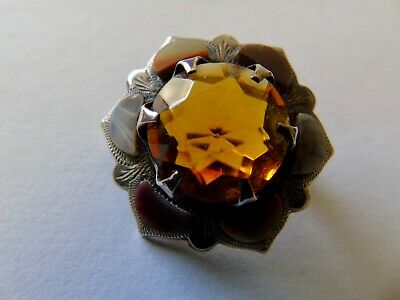 £17.78 • Buy Lovely Little Victorian Scottish Agate And Citrine Stone Brooch With Hallmark