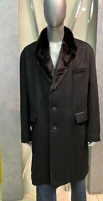 $2487.74 • Buy 100% CASHMERE Men's Coat With Real Mink Fur - Gallotti - Size 60 - Black