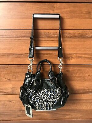 £38 • Buy Russell & Bromley Black Real Leather / Patent Leather Studded Hand Shoulder Bag
