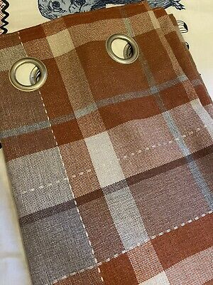 """£24.99 • Buy Next  Brown Stirling Check Curtains Eyelet 53""""X54"""" RRP £75"""