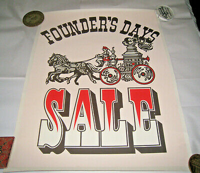 £28.77 • Buy Vintage Poster Founder's Days Sale Horse Fire Pump Firefighter Double Side 22/28