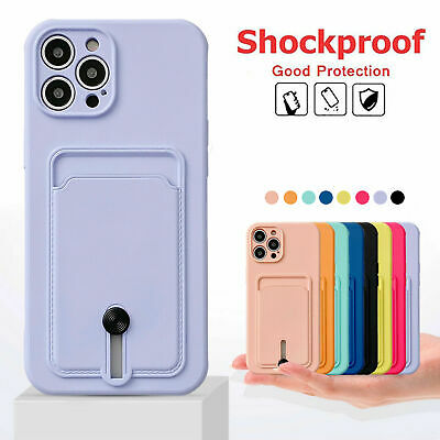 AU7.53 • Buy TPU Case Cover With Card Slot Holder For IPhone 13 12 11 Pro Max XS XR 8 7 SE 2