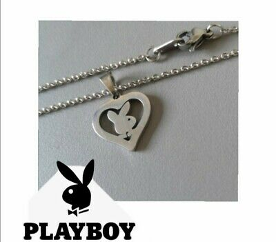 £5.99 • Buy Womens Playboy Bunny Rabbit Silver Stainless Steel Heart Chain Pendant Necklace