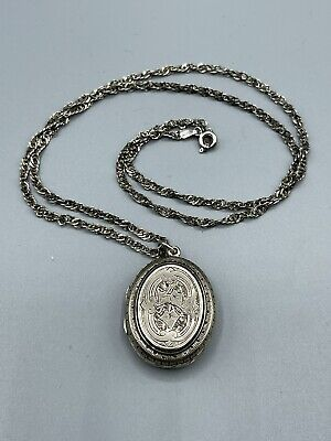 """£169.99 • Buy Victorian Rare Antique Large Oval Sterling Silver Locket & 23"""" Sterling Chain"""