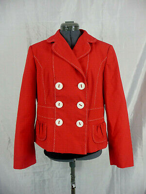 £12.50 • Buy M&S Red White Trim Nautical Blazer Jacket UK 16 Casual Party Occasion