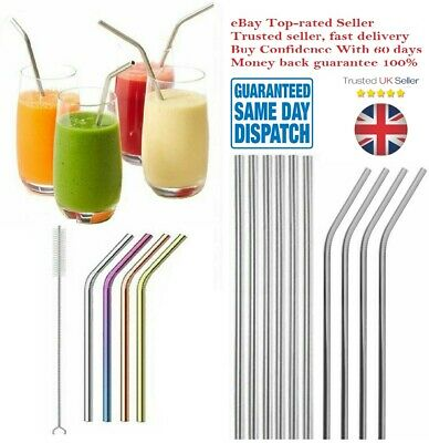 £2.99 • Buy Reusable Metal Straws Stainless Steel Eco-Friendly 6 Colours And Cleaning Brush