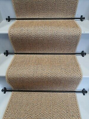 £129.99 • Buy Sisal Flat Weave Natural Blue Stair Runner 6.5m X 50cm  To Cover Up To 14 Stairs