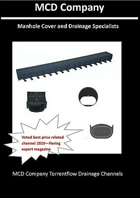 £12.99 • Buy Shallow Drainage Channel - Black Grates - Rated A15 - Driveway Storm Water 1M