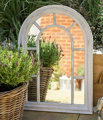 £32.99 • Buy Large Arched Window Arch Mirror Rustic White Vintage Indoor Wall Mount 50x70cm