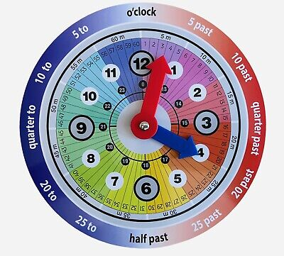 £3.49 • Buy Children Teaching Clock Learning To Tell Time Magnetic Back Educational Clock