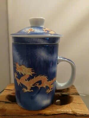 £10 • Buy Dragon Tea Cup Mug With Infuser And Lid Chinese Japanese