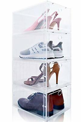 $74.28 • Buy Drop Front Shoe Box, Set Of 4, Stackable, For Men And Women - Plastic Clear