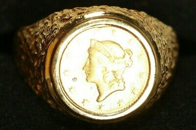 $1595 • Buy 14K Men's Coin Ring. With Type 1 U.S. Gold Coin. 13.59grams Total Weight