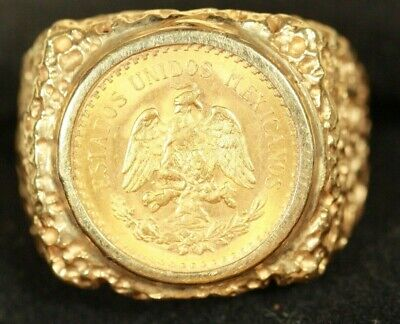 $1275 • Buy 14K Men's Coin Ring. With 2.5 Peso Mexican Gold Coin. 10.23 Grams Total Weight
