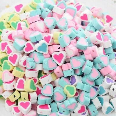 £2.99 • Buy Heart Shape Polymer Clay Spacer Loose Beads Charm DIY Jewelry Mix Aprox.8-10mm