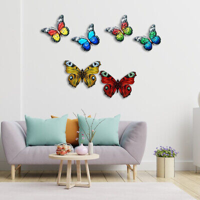 £17.09 • Buy 6Pcs Vibrant Butterfly Wall Decor Wall Statue Hang For Living Room Garden