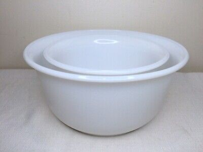 $19.99 • Buy 2 Vintage GE Pebbled Texture White Milk Glass Stand Mixing Bowls