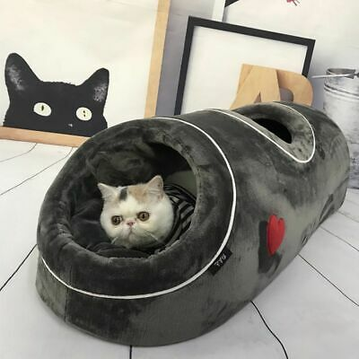 £49.58 • Buy Cat Bed Cave Tunnel Nest Warm With Flannel Mat For Kitten Sleeping Playing
