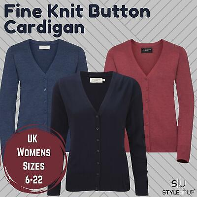 £7.99 • Buy Womens Ladies V Neck Fine Knit Button Cardigan Soft Plain Casual Smart Work Top