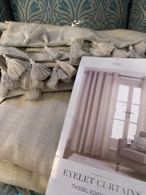 """£60 • Buy Next Natural Textured Tassel Eyelet Lined Curtains 228x229cm 90x90"""" RRP £100"""
