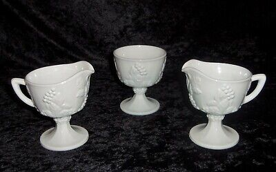 $14.99 • Buy Indiana Colony Milk Glass White Harvest Grapes Footed Sugar Bowl Creamer Pitcher