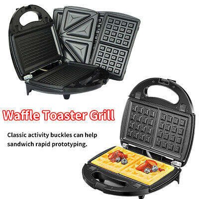 £22.99 • Buy 3 In 1 Multifunctional Waffle Maker Kitchen Panini Sandwich Toaster Grill Make