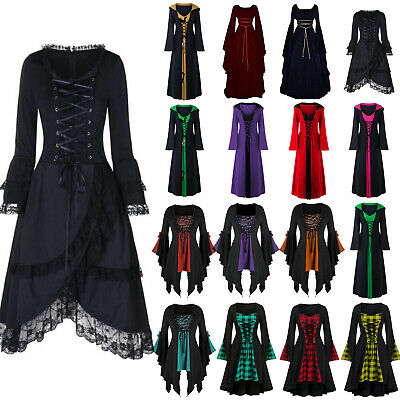 AU18.61 • Buy Halloween Ladies Renaissance Medieval Gothic Witch Costume Fancy Dress Outfit
