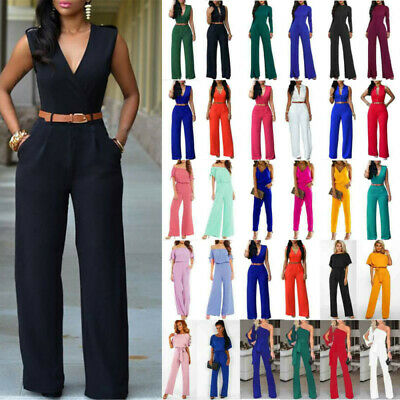 AU25.36 • Buy Lady Formal Office High Waist Jumpsuit Evening Party Gown Cocktail Work Playsuit