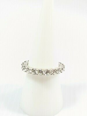 £12.70 • Buy Sterling Silver 925 Round Cubic Zirconia CZ Eternity Band Ring Size 8 Signed GM